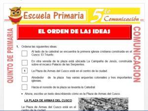 Modelo de la Ficha de El Orden de las Ideas para Quinto de Primaria