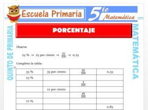 Modelo de la Ficha de El Porcentaje para Quinto de Primaria