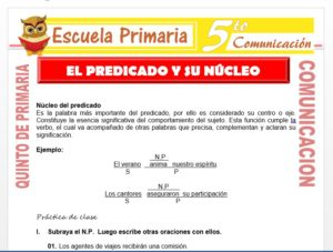 Modelo de la Ficha de El Predicado y su Núcleo para Quinto de Primaria