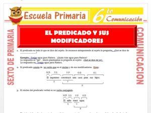 Modelo de la Ficha de El Predicado y sus Modificadores para Sexto de Primaria