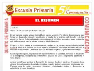 Modelo de la Ficha de El Resumen para Quinto de Primaria