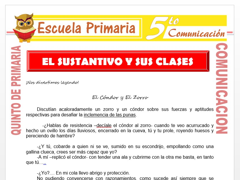 Modelo de la Ficha de El Sustantivo y sus Clases para Quinto de Primaria