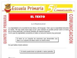 Modelo de la Ficha de El Texto para Quinto de Primaria