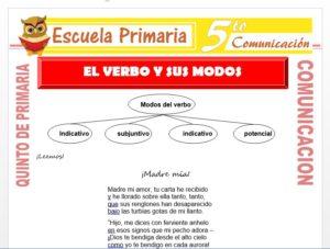 Modelo de la Ficha de El Verbo y sus Modos para Quinto de Primaria