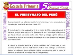 Modelo de la Ficha de El Virreynato en el Perú para Quinto de Primaria