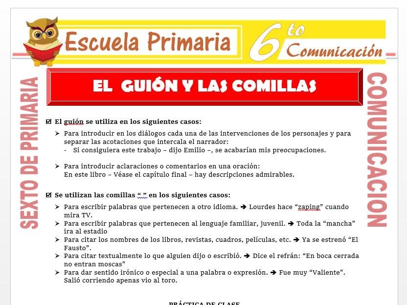 Modelo de la Ficha de El Guion y Las Comillas para Sexto de Primaria