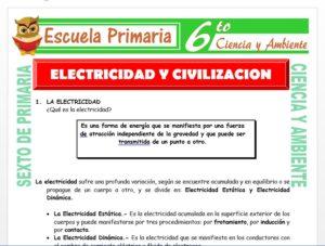Modelo de la Ficha de Electricidad y Civilización para Sexto de Primaria