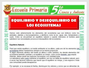 Modelo de la Ficha de Equilibrio y Desequilibrio de los Ecosistemas para Quinto de Primaria