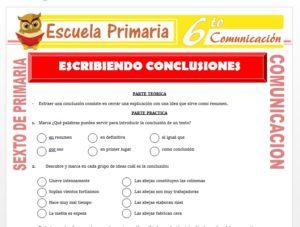 Modelo de la Ficha de Escribiendo Conclusiones para Sexto de Primaria