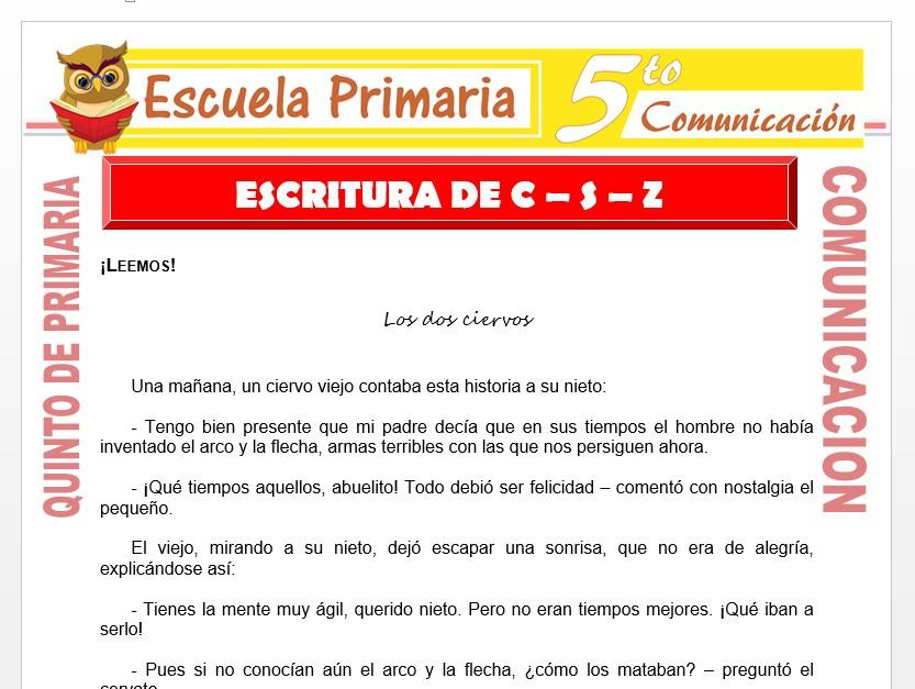 Modelo de la Ficha de Escritura de C . S . Z para Quinto de Primaria
