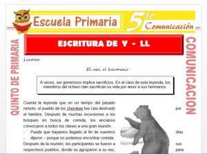 Modelo de la Ficha de Escritura de Y - Ll para Quinto de Primaria