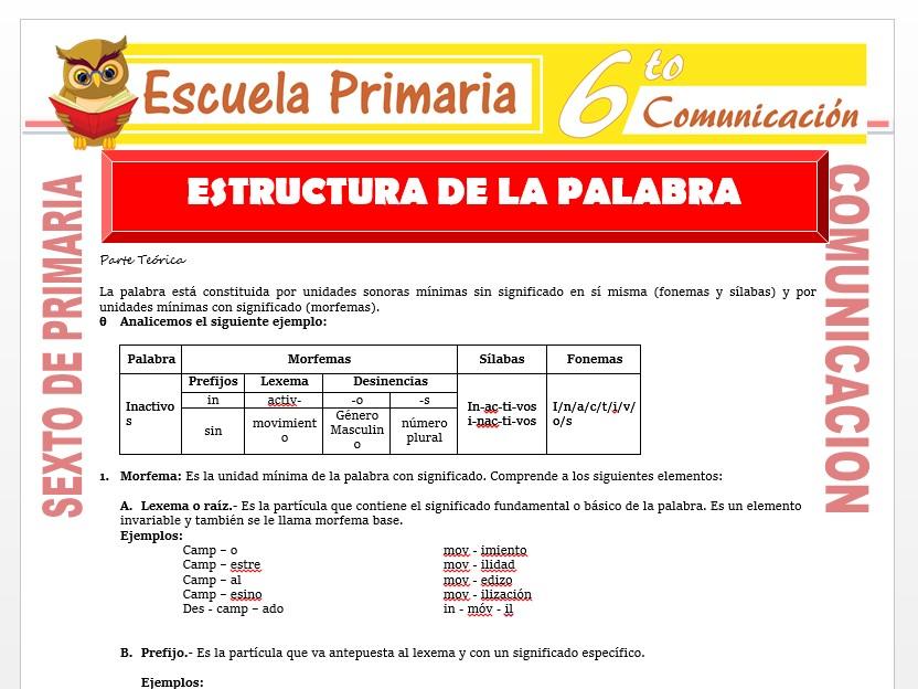 Modelo de la Ficha de Estructura de la Palabra para Sexto de Primaria