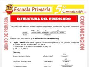 Modelo de la Ficha de Estructuración del Predicado para Quinto de Primaria