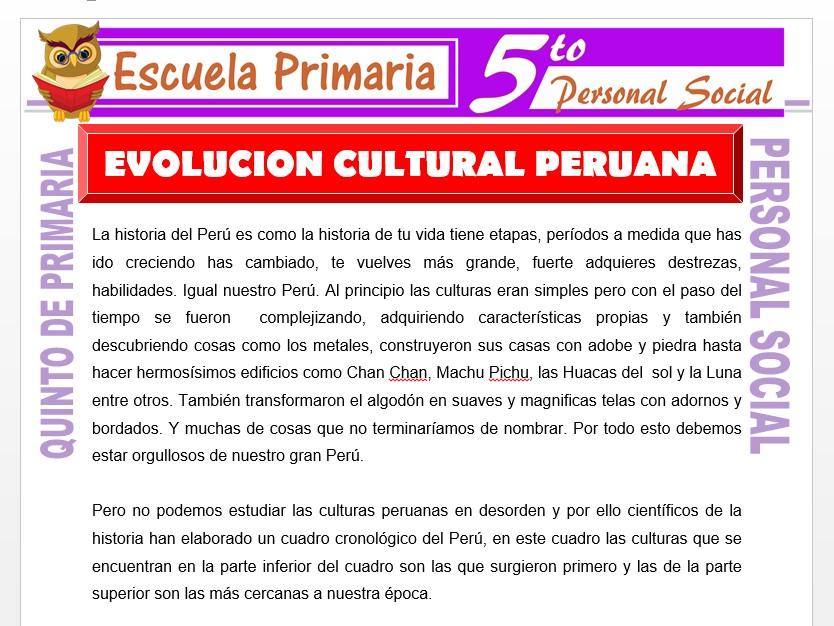 Modelo de la Ficha de Evolución Cultural Peruana para Quinto de Primaria