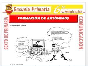 Modelo de la Ficha de Formación de Antónimos con Prefijos para Sexto de Primaria