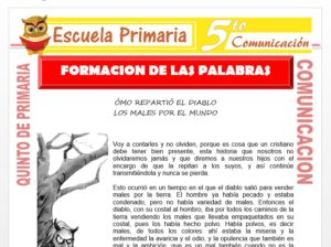 Modelo de la Ficha de Formacion de las Palabras para Quinto de Primaria