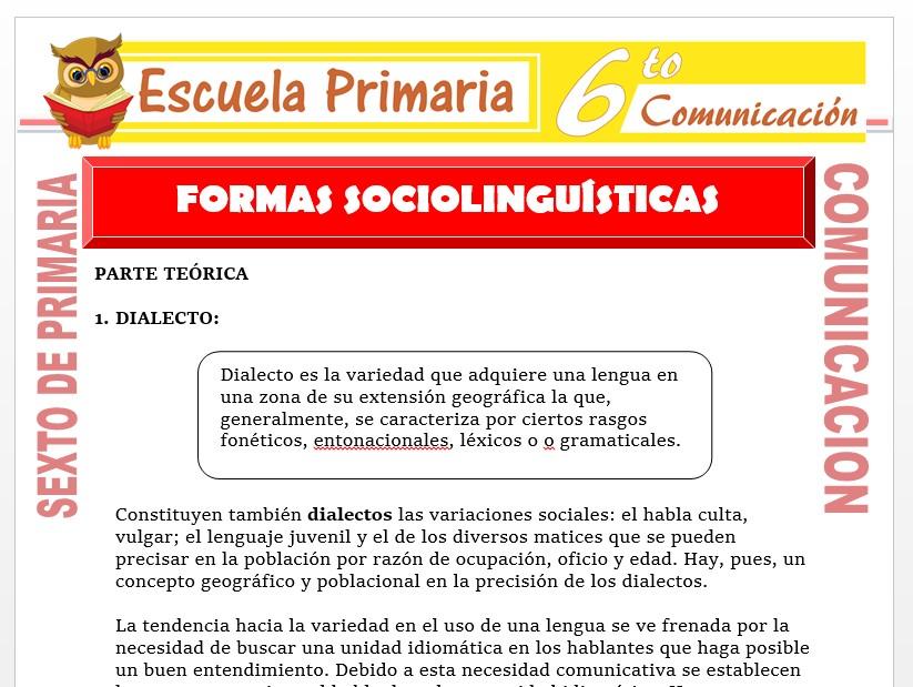 Modelo de la Ficha de Formas Sociolingüísticas para Sexto de Primaria