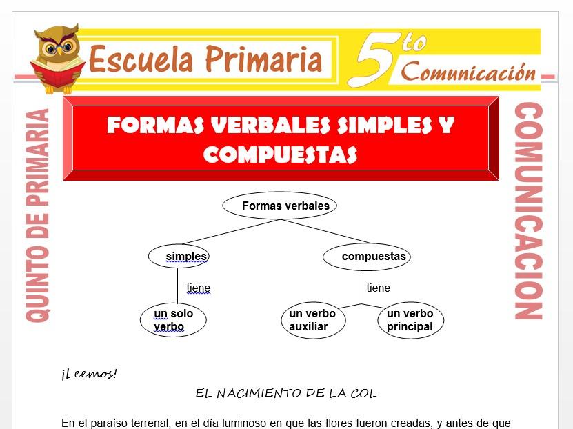 Modelo de la Ficha de Formas Verbales Simples y Compuestas para Quinto de Primaria