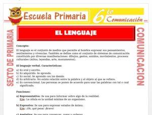 Modelo de la Ficha de Funciones y Características del Lenguaje para Sexto de Primaria