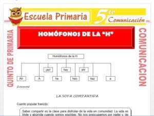 Modelo de la Ficha de Homófonos de la H para Quinto de Primaria