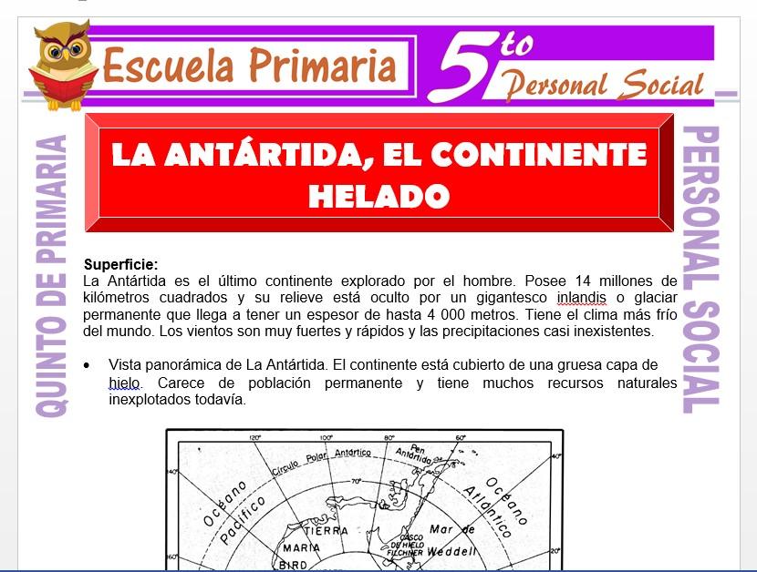 Modelo de la Ficha de La Antártida el Continente Helado para Quinto de Primaria