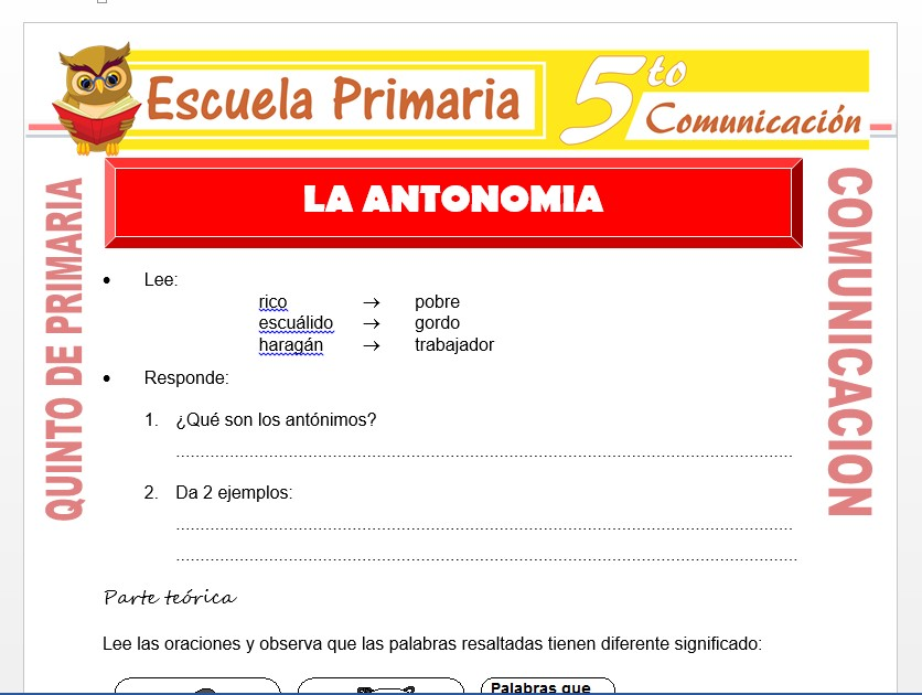 Modelo de la Ficha de La Antonomia para Quinto de Primaria