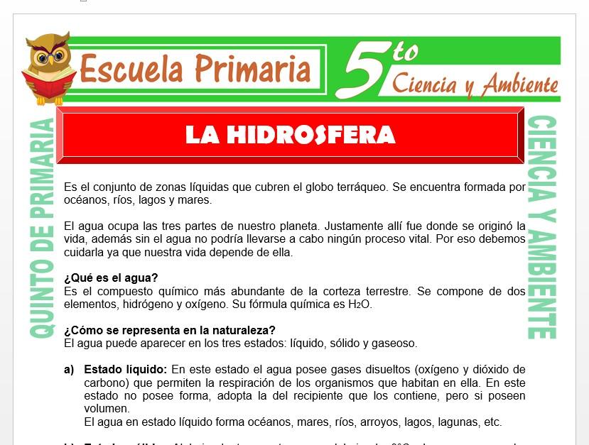 Modelo de la Ficha de La Hidrósfera para Quinto de Primaria