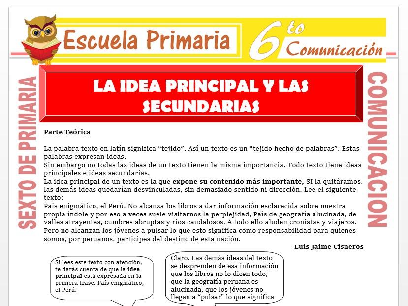 Modelo de la Ficha de La Idea Principal y las Secundarias para Sexto de Primaria