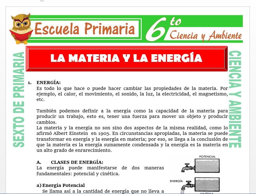 Modelo de la Ficha de La Materia y la Energía para Sexto de Primaria