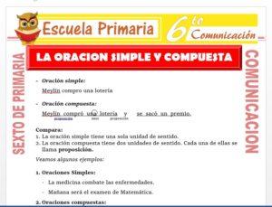 Modelo de la Ficha de La Oración Simple y Compuesta para Sexto de Primaria