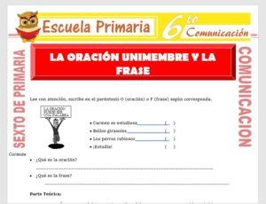 Modelo de la Ficha de La Oración Unimembre y la Frase para Sexto de Primaria