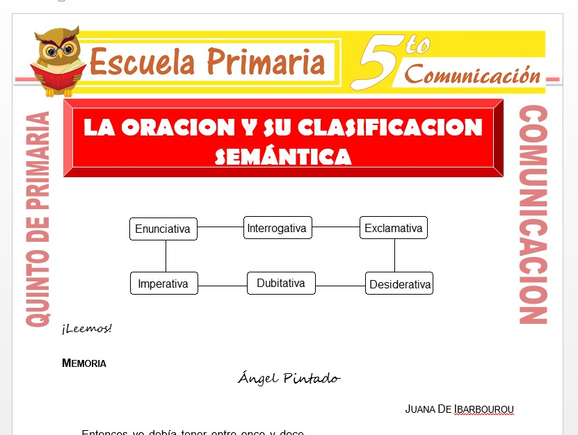 Modelo de la Ficha de La Oración y su Clasificación Semántica para Quinto de Primaria