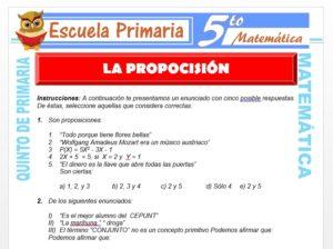 Modelo de la Ficha de La Proposición para Quinto de Primaria