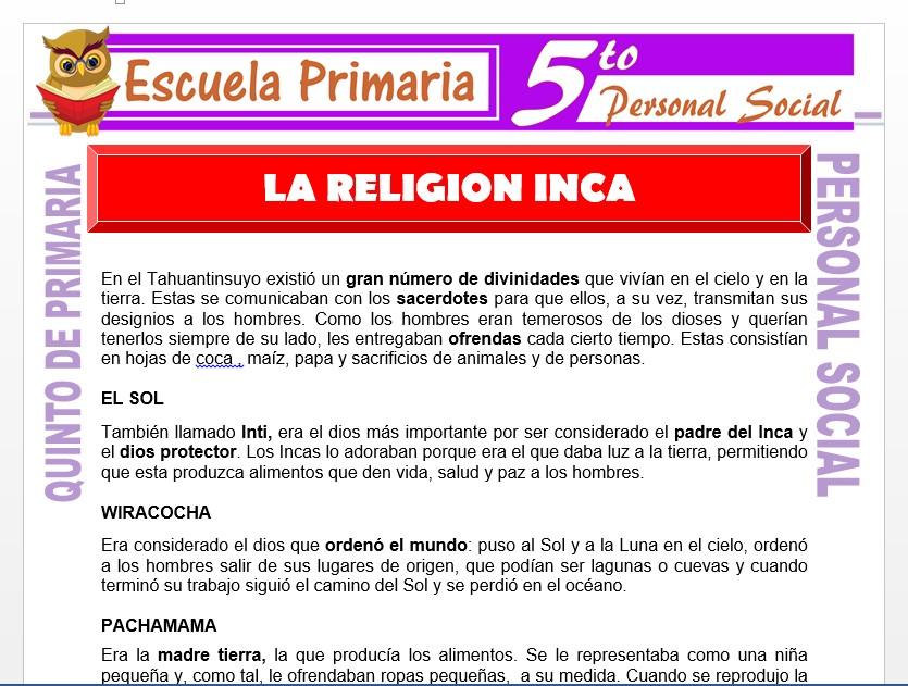 Modelo de la Ficha de La Religión Inca para Quinto de Primaria