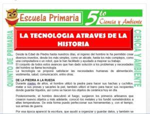Modelo de la Ficha de La Tecnología a Través de la Historia para Quinto de Primaria