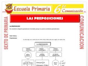 Modelo de la Ficha de Las Preposiciones para Sexto de Primaria