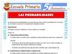 Modelo de la Ficha de Las Probabilidades para Quinto de Primaria