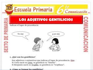 Modelo de la Ficha de Los Adjetivos Gentilicios para Sexto de Primaria