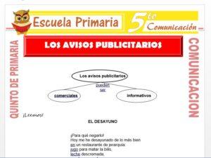 Modelo de la Ficha de Los Avisos Publicitarios para Quinto de Primaria