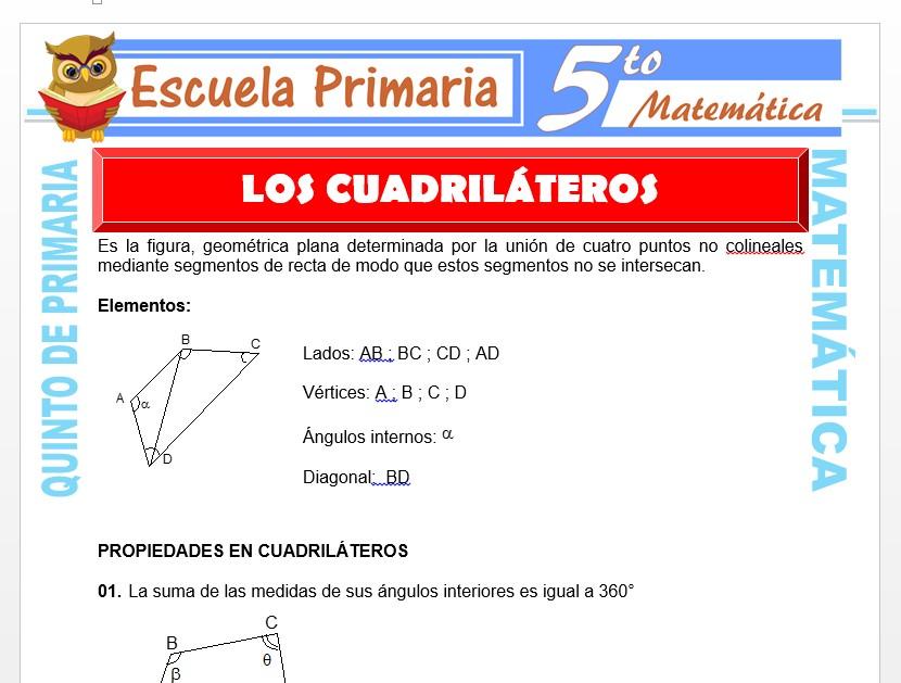 Modelo de la Ficha de Los Cuadriláteros  para Quinto de Primaria