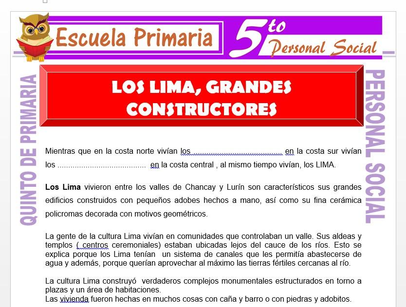 Modelo de la Ficha de Los Lima Grandes Constructores para Quinto de Primaria