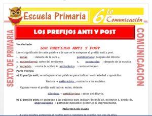 Modelo de la Ficha de Los Prefijos Anti y Post para Sexto de Primaria