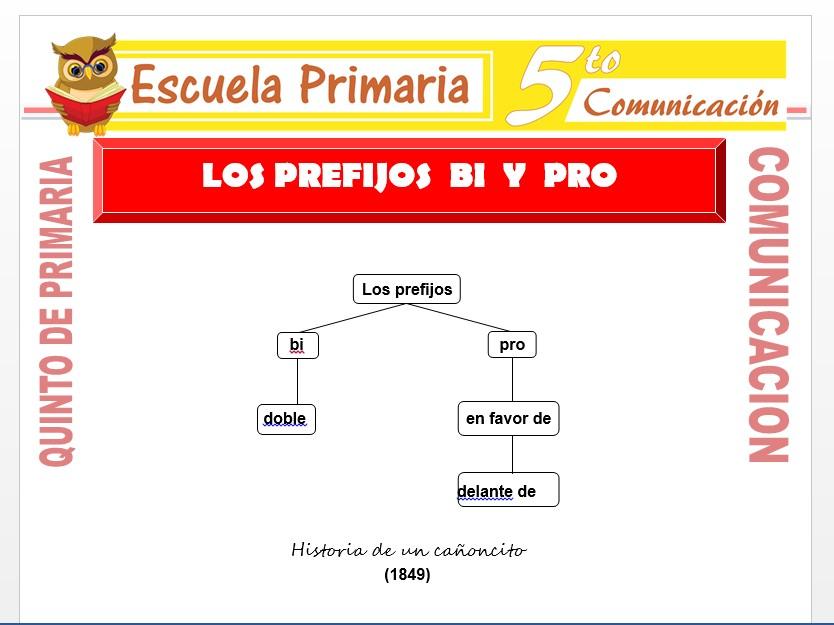 Modelo de la Ficha de Los Prefijos Bi y Pro para Quinto de Primaria