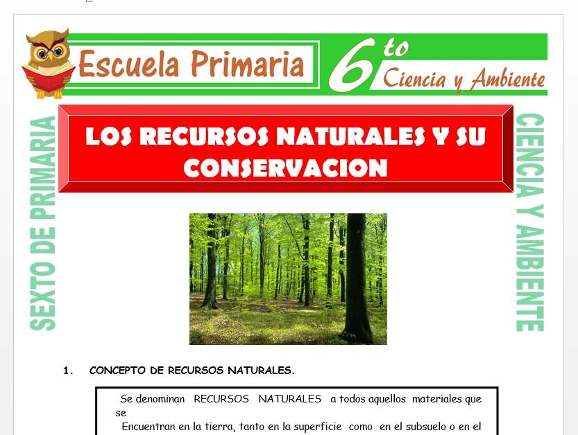 Modelo de la Ficha de Los Recursos Naturales y su Conservación para Sexto de Primaria