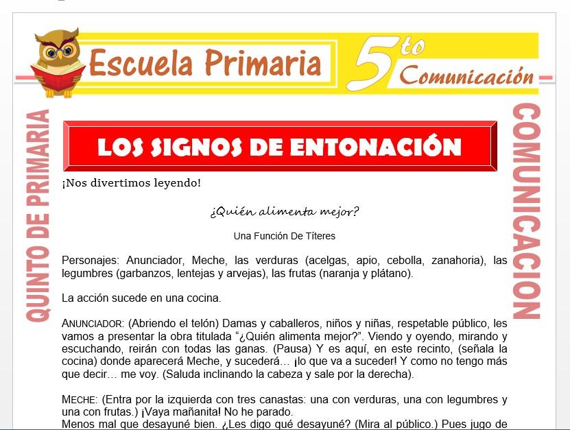 Modelo de la Ficha de Los Signos de Entonación para Quinto de Primaria