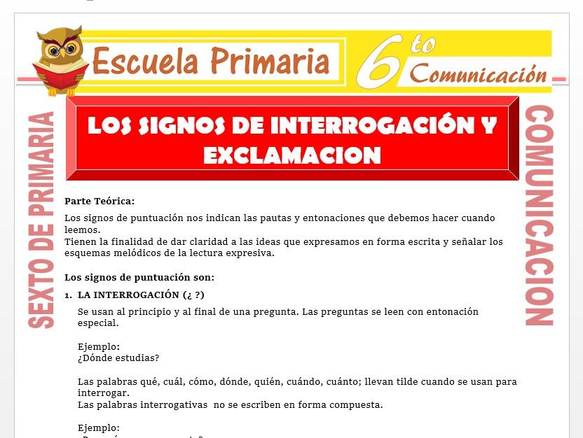 Modelo de la Ficha de Los Signos de Interrogación y Exclamación para Sexto de Primaria