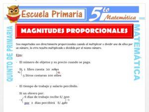 Modelo de la Ficha de Magnitudes Proporcionales para Quinto de Primaria