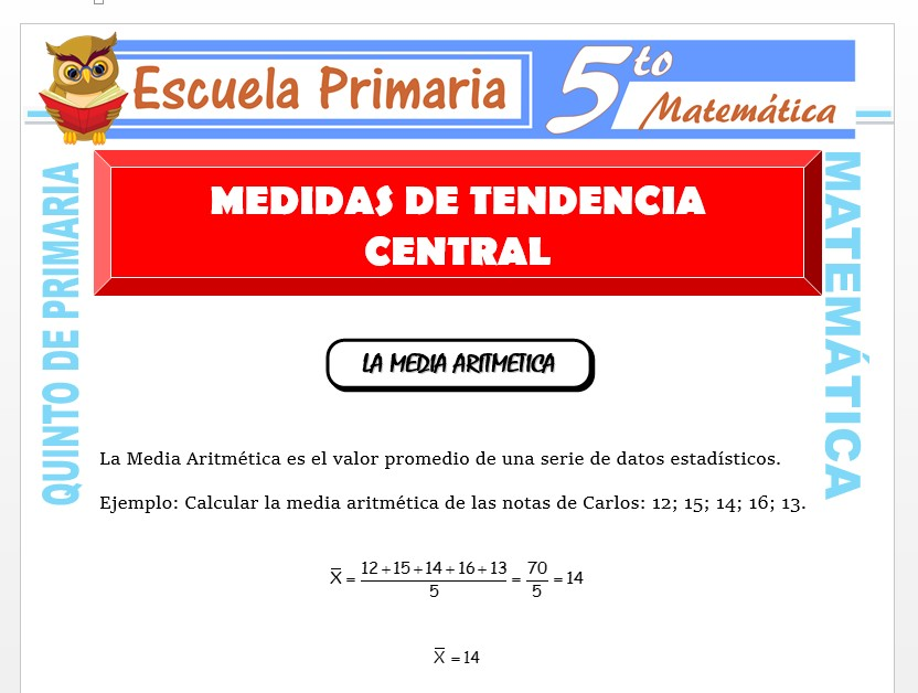 Modelo de la Ficha de Medidas de Tendencia Central para Quinto de Primaria