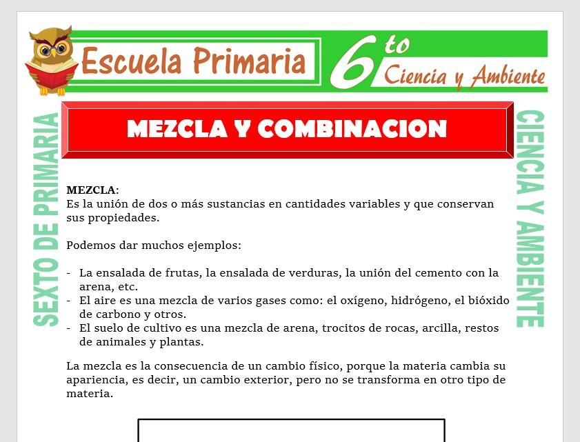 Modelo de la Ficha de Mezcla y Combinación para Sexto de Primaria