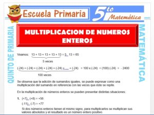 Modelo de la Ficha de Multiplicación de Números Enteros para Quinto de Primaria